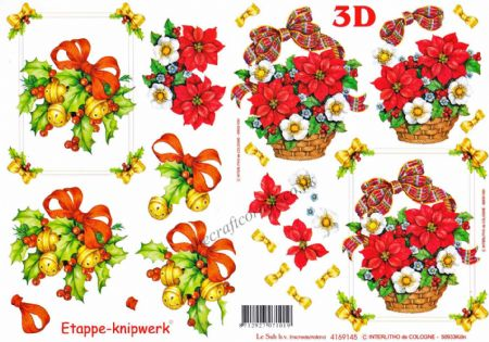 Baskets Of Christmas Flowers & Bells Designs 3d Decoupage Sheet from Le Suh